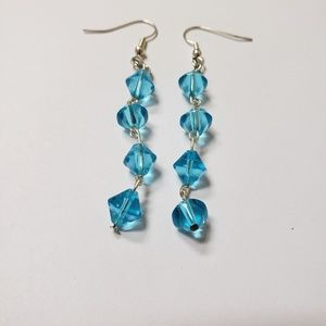 Handmade Earrings | Blue Diamond Beads